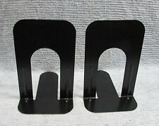 "Pair Large 9"" Tall Old Black Institutional Steel Vintage Bookends Set Free S/H"