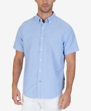 NWT $91 NAUTICA Men CLASSIC-FIT BLUE SHORT-SLEEVE BUTTON-DOWN DRESS SHIRT SIZE M