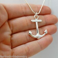 Anchor Pendant Necklace - 925 Sterling Silver - Nautical Jewelry Anchors Sea SN