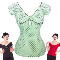Hell Bunny Cilla Polka Dot Vintage 1950s Retro Rockabilly Off Shoulder Top UK
