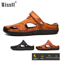 Men's Summer Beach Casual Leather Sandals Shoes Sport Outdoor Anti-slip Slippers