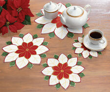 Red & White Embroidered Doilies Set of 4 Table Decor Holiday Christmas
