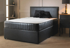 LEATHER MEMORY FOAM DIVAN BED ALL SIZES FREE HEADBOARD 3FT 4FT6 DOUBLE 5FT KING