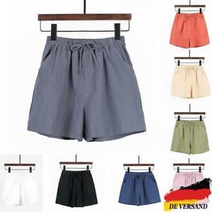 Damen Kurze Hose Shorts Elastische Taille Sommerhose Weites Bein Freizeit Hosen
