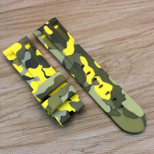 24*22mm 115/75mm Yellow Camouflage Rubber Strap For PAM PAM111 LUNMINOR RADIOMIR