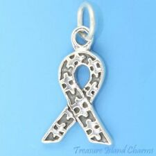 Autism Symbol Jigsaw Puzzle Piece Ribbon 925 Solid Sterling Silver Charm Pendant