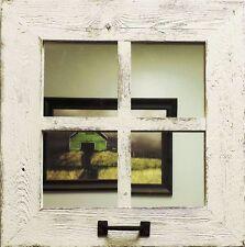 "Reclaimed Barn Wood 18"" x 18"" Square  4 Pane Window Mirror w Rustic Pull Handle"