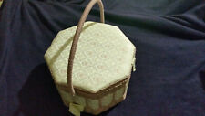 Handcrafted Pink Design Cloth & Wicker Sewing Basket