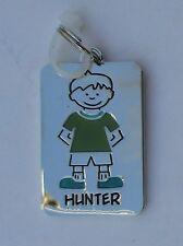 Hunter NAME CHARM dog tag pendant zipper pull key chain flair ganz