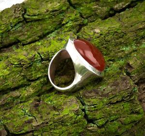 Großer Karneol Ring Sterlingsilber/925 Cabochon Oval Rot Braun