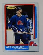 1986-87 OPC O-Pee-Chee Michel Goulet Box Bottom Blank Back Hand Cut