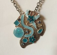Abstract Flower Symbol Pendant Necklace Silver Blue Turquoise  18 Inch A022