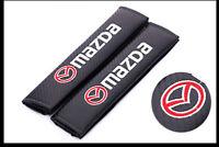 2Pcs Carbon Fiber Car Seat Belt Cover Safety Shoulder Pads Accessories for Mazda