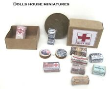VINTAGE STYLE  FIRST  AID BOX  AND CONTENTS         DOLLS  HOUSE MINIATURE
