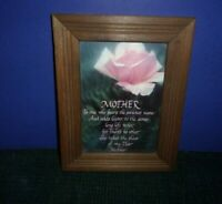 """""""Mother"""" Picture in Wood Frame - 7"""" x 9"""" - Rose with Poem"""