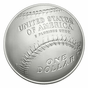 2014 Baseball Hall Of Fame Silver UNC $1 Dollar Commemorative Coin Box & COA