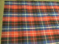 Vintage Wool blend Plaid Tailgating Stadium Car Blanket Blue Red Blk 55x51 Italy
