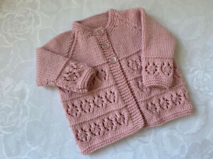 New Hand Knitted Baby Girl's Baby  Pink Matinee Cardigan  0 - 3 Months