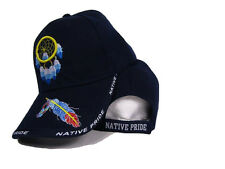 Native Pride Dream Catcher Feather Indian Blue Embroidered Ball Cap Hat (RAM)