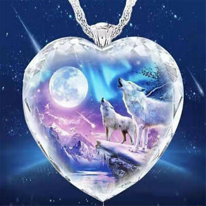 925 Silver Women Animal Wolf Heart Necklace Natural Crystal Jewellery Pendant .