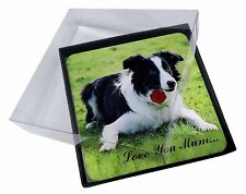 4x Border Collie+Rose 'Love You Mum' Picture Table Coasters Set in, AD-CO69RlymC