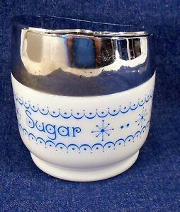 Vintage Gemco USA White Blue Atomic Snowflake Garland Sugar Bowl Silver Top