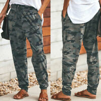 Hot Summer Women Camo Cargo Pants Fashion Drawstring Trousers Joggers Size S-3XL