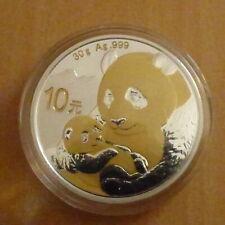 China 10 yuan Panda 2019 30g silver 99.9% gilded (with capsule)