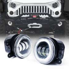 "4"" 30W 60W CREE LED Fog Light with White Halo Angel Ring Jeep Wrangler"