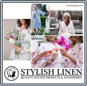 Bathrobes 100% Rayon Robes Wedding Bridal Bridemaids Women Bride Robe New