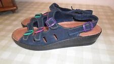 Fly Flot Navy Blue Suede Sling Back Sandals With Multi Coloured Buckles Size 39