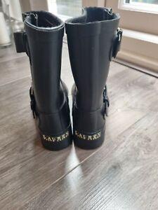 Polo Ralph Lauren Women's Mora Buckle Wellingtons Boots in black, size 4 UK