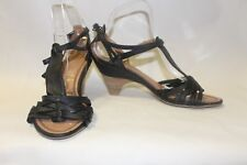 Ladies New Look Black Sandals Size 39 Uk 6 Strappy Comfy Heel Shoes