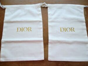 NEW Authentic DIOR Current White Shoe Storage Dust Bag Pair Set 13 x 8 inches.
