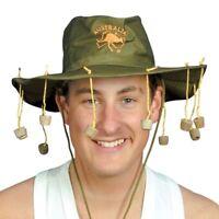 Green Australian Hanging Cork Hat Fancy Dress Australia Kangaroo Print Dundee