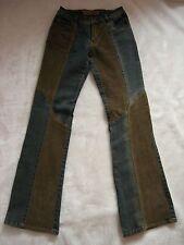 NWOT CREST Festival Boho Jeans 1 2 Vintage Wash Corduroy Patchwork Designer