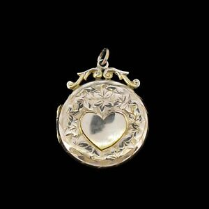 Antique 9ct 9K Yellow Gold Engraved Fancy Round Heart Locket Pendant