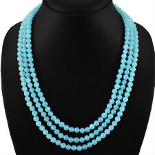 NATURAL 3 STRAND RICH BLUE CHALCEDONY ROUND SHAPE BEADS NECKLACE