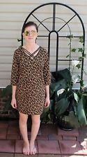 Bob Mackie Wearable Art Leopard Print Cotton Dress Tunic Top Shirt Size Small