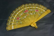 "Vintage Small Folding Hand Fan Plastic with Floral Print - 9"" wide"