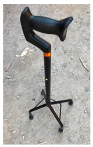 Walking Cane Quad legged, Black Height adjustable ergonomic handle Fondlight NEW