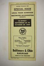 Railroad Public Timetable Baltimore & Ohio B&O September 25, 1955 Train RR PTT