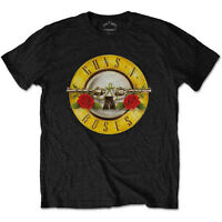 Guns N Roses T Shirt Classic Logo Bullet Official Black Mens Tee Rock Slash