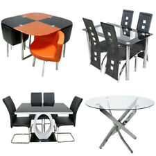 Glass Round Rectangle Dining Table Sets & 4 Black Faux Leather Chrome Leg Chairs