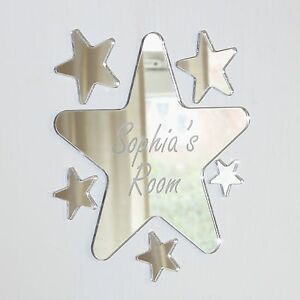 Rounded Star Mirror Set Personalised Door Name Plaque Boy Girls Bed Room Sign
