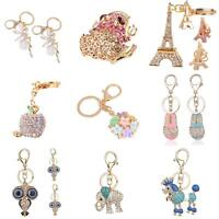 FJ- Crystal Rhinestone Keyring Keychain Charm Pendant Bag Purse Car Key Chain Ne