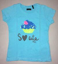IKKS Été Tee-shirt MC So Cute Bleu Ciel Sequins 2 Ans Fille Bon Etat