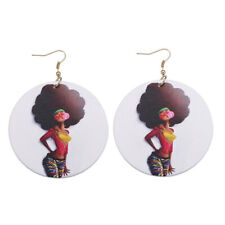 African Women Painted Wooden Earrings Ethnic Girl Pattern Jewelry Earrings S