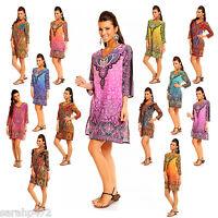 EVOKE ETHNIC TRIBAL PRINT KAFTAN TUNIC TOP DRESS MANY COLOURS SIZE 10-18
