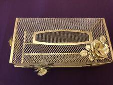 Vintage Gold Gilt Hollywood Tissue Kleenex Holder Cover Floral Ornate Filigree